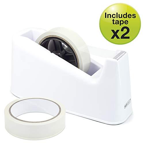 Rapesco 500 dispenser per nastro adesivo con 2 rotoli di nastro (bianco)