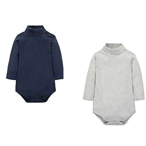 CuteOn 2 paquetes Unisexo Bebé Rompers - Cuello polo Manga Larga - 100% Algodón - Infantil Body...