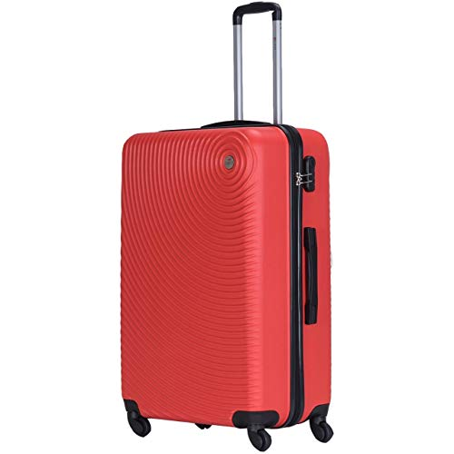 Spritz Air Suitcase Trolley Carry On Hand Cabin Luggage Hard Shell Travel Bag Lightweight Durable 4 Spinner Wheels 4 Sizes (Red, X-Large)