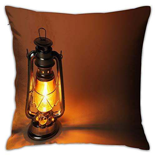 LiBei Funda de Cojín,Lámpara de Queroseno encendida en iluminación Oscura Concepto,Funda de Almohada Cuadrado para Sofá Coche Cama Sillas Decoración para Hogar(50 x 50cm)