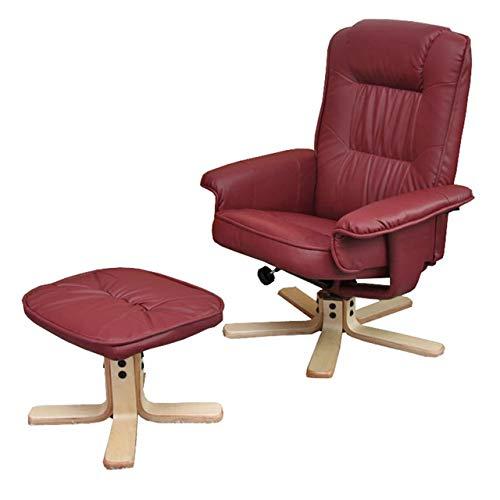 Mendler Relaxsessel Fernsehsessel Sessel mit Hocker M56 Kunstleder ~ Bordeaux