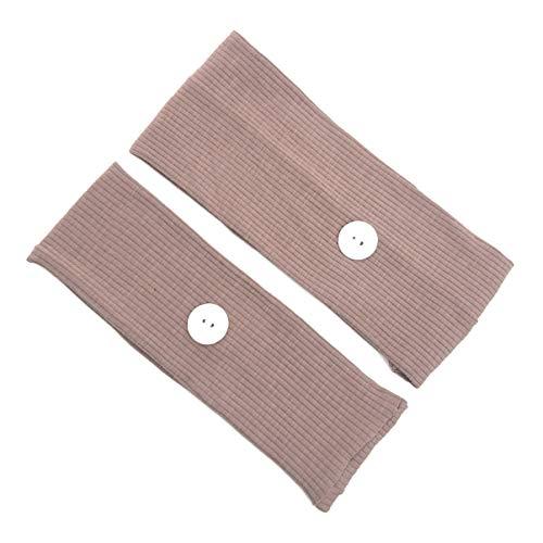 KESYOO Stirnband mit Knöpfen Haarband Turban Kopfband Gesichtsschutz Sport Kopfband Ohrenschutz Kopftuch für Männer Frauen Spa Yoga Gym Fitness Kaffee 2 Stück
