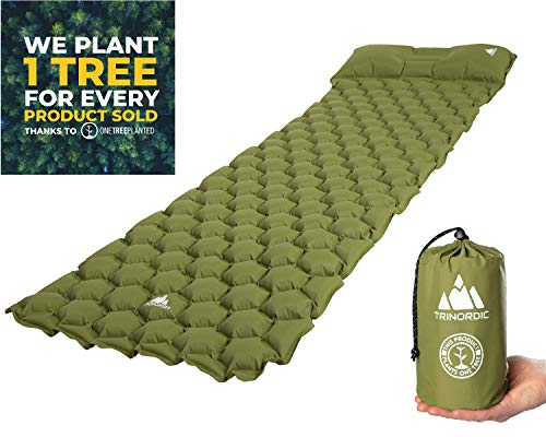TRINORDIC Camping Mat Ultralight Inflatable Sleeping Mattress with Pillow, Folding Lightweight Inflating Single Bed Portable Air Pad, for Outdoor Backpacking Hiking Travel