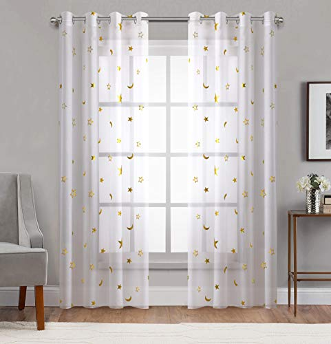 """Home Fashion Sheer Curtains Grommets Top Romantic Gold Star Foil Print Window Treatment for Girl Bedroom Glitter Stars Thin and Soft Curtains Panel for Kids Room 54"""" Wide by 84"""" Long Set of 2"""