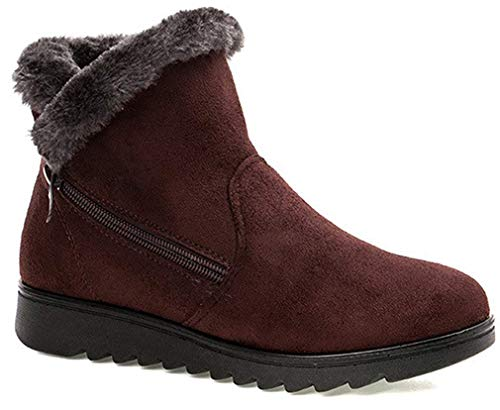 2019 Zapatos Invierno Mujer Botas de Nieve Casual Calzado Piel Forradas Calientes Planas Outdoor Boots Antideslizante Zapatillas para Mujer