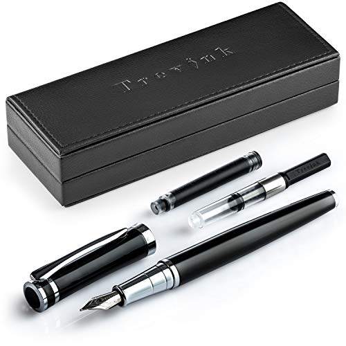 Trevink Luxury Black Fountain Pen Set | Medium Nib Pen with Elegant Gift Case + Twist Converter and Standard Ink Refill Cartridge