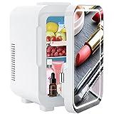 Mini Frigoríficos 8 L, Mini Frigo con Espejo de Maquillaje LED, Con Función de Frío y Calor,...
