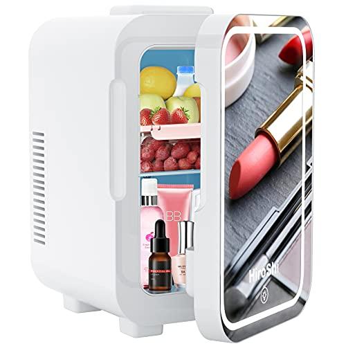 Mini Frigoríficos 8 L, Mini Frigo con Espejo de Maquillaje LED, Con Función de Frío y Calor, Aplicar Para Dormitorio, Oficina, Dormitorio, uena Opción Para el Cuidado De La Piel y Los Cosméticos