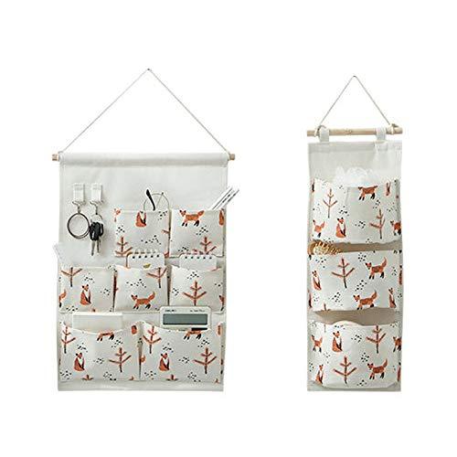 Dzmuero Organizador taquilla,2 Piezas Bolsas Colgantes Para Almacenamiento,Organizador de 3 bolsillos y 7 bolsillos Bolsas colgantes para colgar en la puerta Bolsillo de tela de lino de algodón