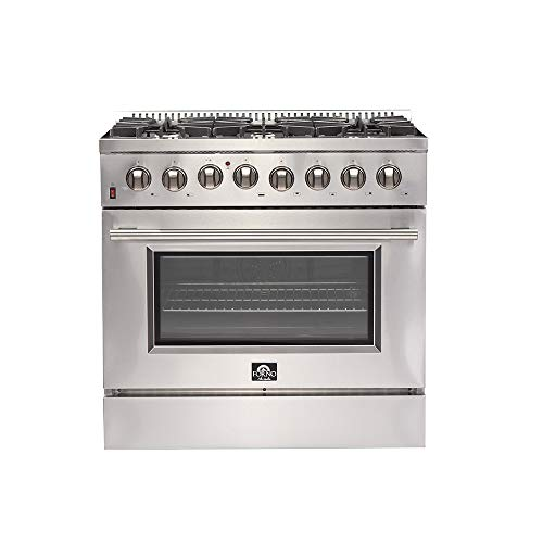 36″ Galiano Dual Fuel Gas Range with 240 Volt Electric Oven FORNO Pro-Style 6 DEFENDI Italian Burners 83,000 BTU All Stainless Steel