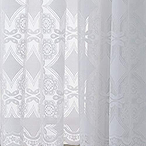 Xiuinserty - Cortinas de ducha para crochet romántico, encaje floral, mitad corta, cortinas transparentes con ribete festoneado, A, 1