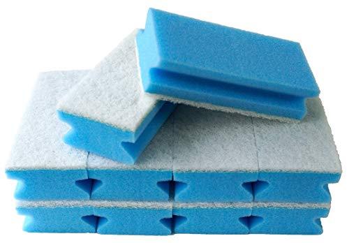 Sonty 10 Stück Putzschwamm kratzfrei, waschbar, gross 15x7x4cm weiß (blau)