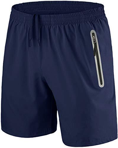 TACVASEN Gym Shorts Mens Zip Pockets Running Shorts Lightweight Joggers Shorts Quick Dry Athletic Light Shorts Holiday Fitness Shorts Blue