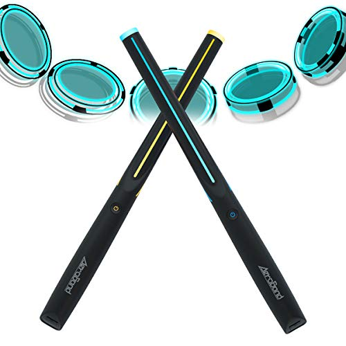 AEROBAND Drum Sticks Air Electronic Drum Set with Light, Bluetooth Wireless Connection Pocketdrum, 3 Modes Portable Drumsticks Indoor/Outdoor Travel Using- 1 Pair