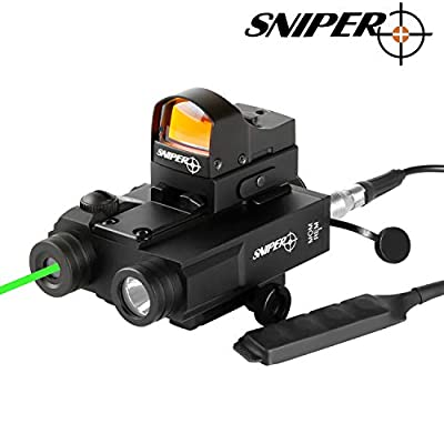 Sniper FL2000 Tactical Laser Sight + 200LM LED Light Combo and TR20 Reflex Sight with Pressure Cord Switch and Quick Release Mount (FL2000R)