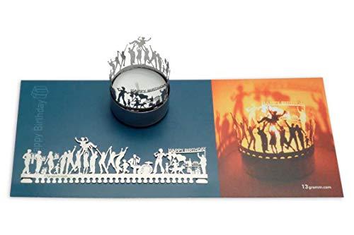 13gramm Geburtstag Windlicht Schattenspiel Geschenk, 3D Edelstahl Aufsatz für Kerze inkl. Karte