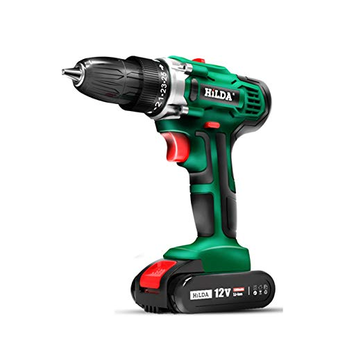 JMG Electric Drill Cordless Screwdriver Lithium Battery Two-Speed Mini Drill Cordless Screwdriver Power Tools Included Power Charger and Box,1 Battery,12v
