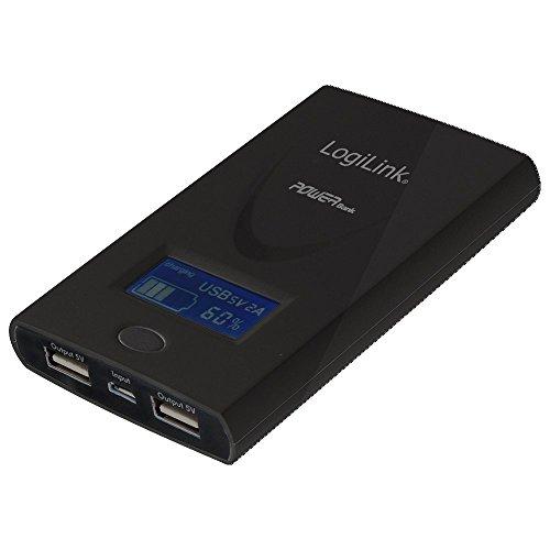 LogiLink PA0050B Mobile Power Bank mit LCD Display, 6000mA, 2X USB Port (max. total Output 2,1A), incl. USB zu Micro USB Kabel, schwarz
