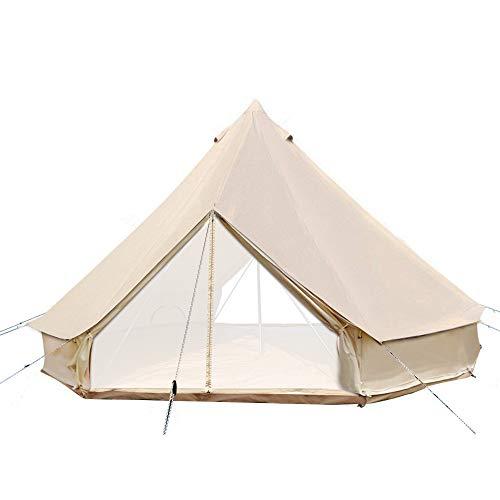 Sport Tent 4-Jahreszeiten Outdoor Camping Zelte Baumwolle Wasserdicht Familienzelt Tipi Indianerzelt Teepee Glockenzelt mit 2 Türen und Herdloch/Kaminrohre Entlüftung (4 M, Mit geteiltem Ofenloch)