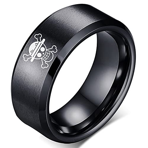 YWDREAM One Piece Ring Anime Rings for Men Straw Hat Luffy Anime Men Ring Black Anime Jewelry (Luffy, 9)
