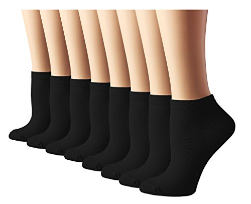 Womens Athletic No Show Running Socks 8 Pack Black, shoe size 4-10