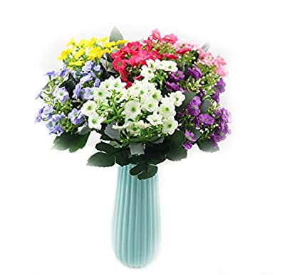 SVEN HOME Artificial Plants Flower 6 Bundles Baby's Breath Fake Plastic Greenery Shrubs Water Plants Grass Bushes Flowers Rose Filler Indoor Outside House Garden Office Wedding Decor (Mix Color 3)