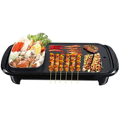 WeiX Electric Grill And Hot Pot,Multifunctional BBQ Hot Pot Double Pot,2 in 1 Multi-Function Separation Master Pot Hot Pot Fryer Grill Pan Non-Stick Grill Roasting,Capacity for 4-6 People,220V