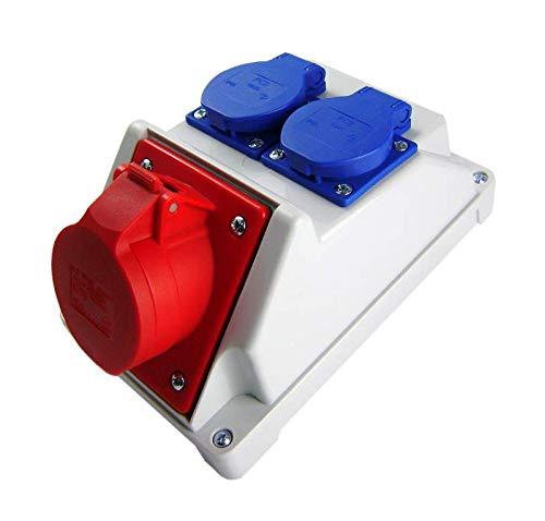Kombi Wandsteckdose CEE 16A 5P mit 2x Schuko 230V. CEE und Steckdose Schuko in einem Gehäuse. Doppelsteckdosen für Outdoor-Bereich & Baustelle, Werkstätten und Fabriken. IP44