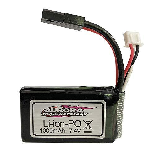 YUNIQUE DEUTSCHLAND Wiederaufladbare Lipo Batterie 7.4V 1000mAh für 1/16 XLH 9130 9136 9137 Auto RC 4WD Truck Rocker Crawler