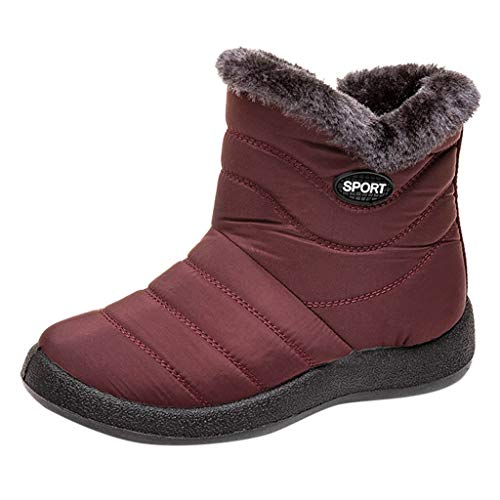 Yowablo Schlupfstiefel Damen Winter Schneeschuhe Winter Ankle Short Bootie wasserdichte Schuhe Warme Schuhe (39 EU,Wein)