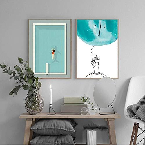 VVSUN Moderno Minimalista Piscina impresión en Lienzo Pintura Cartel Arte Simple Pared imágenes para Sala de Estar decoración del hogar 50X70cm 20x28inchx2 Sin Marco