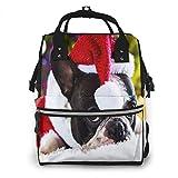 Mochila de Pañales para Cambiar Pañales Perro Bulldog Santa, Gran Capacidad Bolsa de Momias a Prueba de Agua Elegante para Mamá Papá Viajar Con Un Bebé