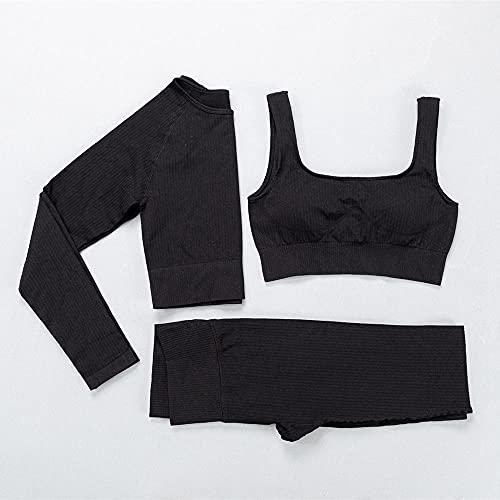 WHEEJE Traje de Yoga, 3 unids/Set Mujeres Sport Sport Suit de Yoga Set Gimnasio Ropa de Entrenamiento de Manga Larga Cultivo de Fitness Top Sujetador + Leggings Deportivos sin Fisuras de Cintura alt
