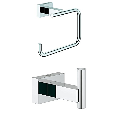 GROHE Essentials | Badaccessoires - WC-Papierhalter | 40507001 + GROHE Essentials Cube | Badaccessoires - Handtuchhaken | silber | 40511001