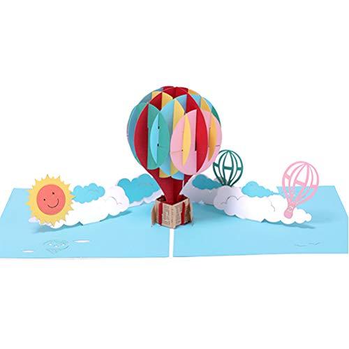 Tarjeta de Felicitación Emergente 3D,Tarjeta Regalo Cumpleaños Navidad Boda Tarjeta Invitaciones con Sobre para Mujeres Hombres (Globo Aerostático, Sol, Nube) SPDYCESS