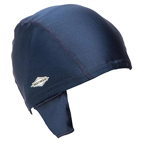 Matman Wrestling Hair Cap with Eyelets to Hook to Ear Guards (Navy)