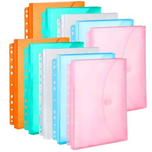 FANWU 10 Pack Assorted Color Expandable Poly Binder Pocket, 3/4-inch Gusset, Letter Size, 11 Holes Punched, Index Dividers Pocket Folders Plastic Envelopes Clear Document Folders for Ring Binder