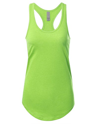 Women's Basic Solid Jersey Racer Back Tank Top with Scallop Bottom L Heather Neongreen