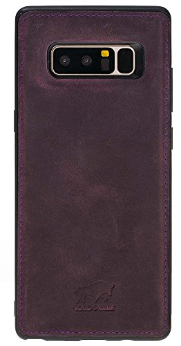Solo Pelle Lederhülle für das Samsung Galaxy Note 8 Hülle, Schutzhülle aus echtem Leder, Model: Stanford in Vintage Lila