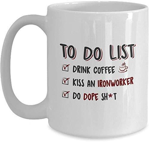 N\A Regalo de la Esposa, Novia del Trabajador del Hierro Divertido - Lista de tareas Pendientes Taza de café con Leche para el Festival de Acción de Gracias de Navidad Regalo de Amigos