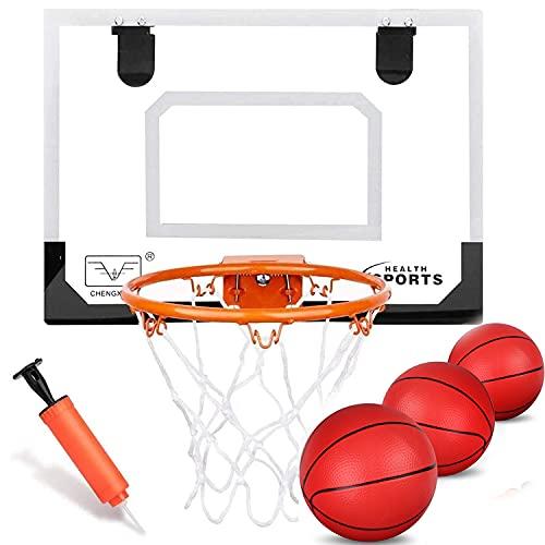 Boost Indoor Basketball Hoop Set for Kids, Basketball Hoop for Door With 3 Small Rubber Basketballs...