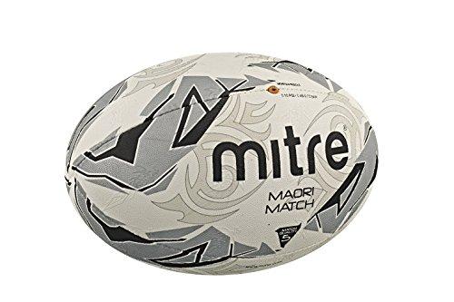 Mitre Maori Match - Pallone da rugby da uomo, taglia 4, colore: Bianco/Argento/Nero