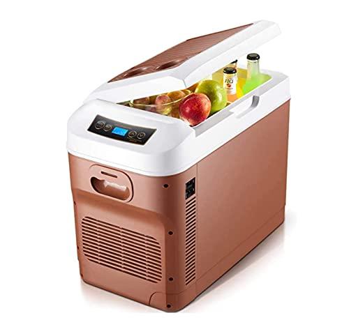 YMXLXL Marrón Mini Refrigerador con Función Frío y Calor, Ahorro Energía y Protección del Medio Ambiente, Ruido Bajo, Temperatura Regulable, 8L Nevera Silenciosa para Hotel con Diseño Mango Invisible