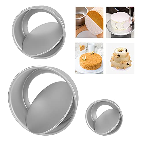Cake Pan Set of 3,Stainless Steel Round Layer Cake Baking Pans, Non-Toxic & Healthy, Mirror Finish & Dishwasher Safe 4 Inch, 6 Inch, 8 Inch Tin Set for Wedding/Birthday/Christmas with Loose Base