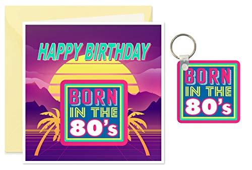 Born in the 80s Keyring and Birthday Card