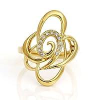 18金 ダイヤモンド リング バラ レディース ローズ k18 イエローゴールド フラワー 指輪 (11)