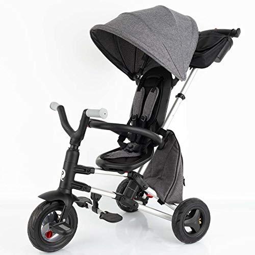 QPLAY - Triciclo Bebe Nova+ Gris - Evolutivo - Plegable - Arnés...