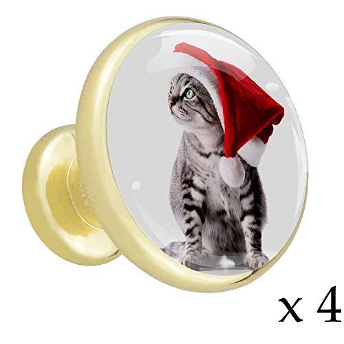 Katze Mit Weihnachtsmütze Gold Metall Möbelknopf 4 Stück Möbelgriff Schrankgriff Küchenschrank Schublade Kleiderschrank Griff mit Edelstahlschrauben 3.2x3x1.7cm