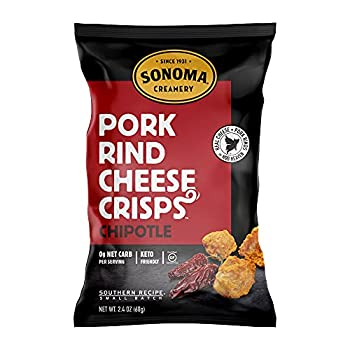 Sonoma Creamery Pork Rind Cheese Crisps - Keto Friendly Gluten-Free Low Carb High Protein - Chipotle 2.4 Ounces  3 Count