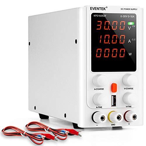 Eventek - Fuente de alimentación de laboratorio (30 V, 10 A, regulable)